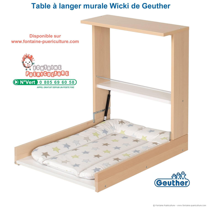 Table langer murale wicki de geuther version bois naturel - Plan table a langer en bois ...